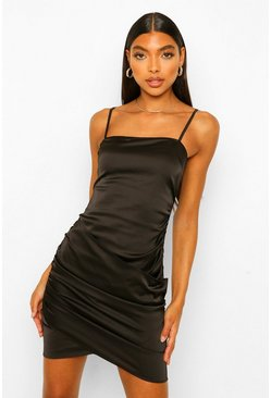 Black Tall Satin Mini Dress