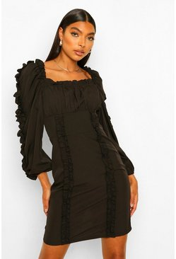 Black Tall Ruffle Long Sleeve Woven Bodycon Dress