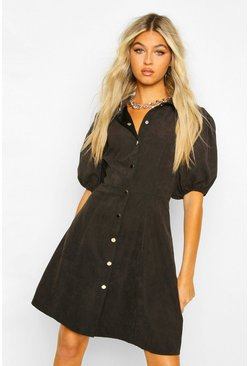 Black Tall Faux Suede Puff Sleeve Skater Dress