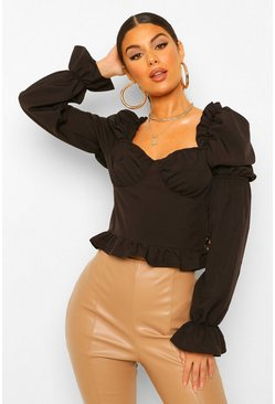 Black Tall Woven Ruffle Sweetheart Neck Blouse