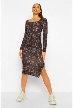 Black Tall Polka Dot Scoop Neck Bodycon Midi Dress