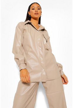 Ecru white Tall Pu Faux Leather Oversized Shirt