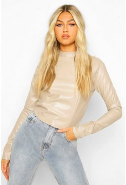 Ecru white Tall PU High Neck Long Sleeve Crop Top