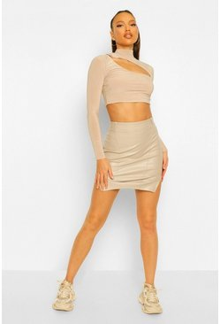 Ecru white Tall PU Cut Out Side Mini Skirt