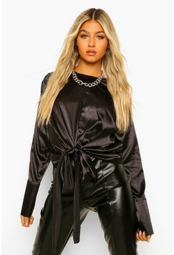 Black Tall Satin Tie Front Bow Detail Blouse