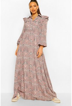 Grey Tall Paisley Print Ruffle Long Sleeve Maxi Dress