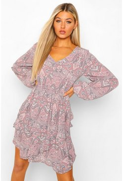 Grey Tall Paisley Print Ruffle Long Sleeve Skater Dress