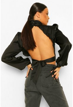 Black Tall Open Back Satin High Neck Crop Top