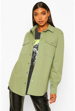 Khaki Tall Denim Twill Shacket