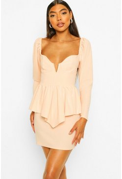 Nude Tall V Plunge Peplum Mini Dress