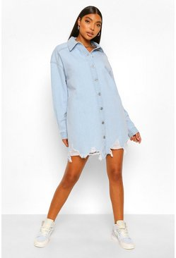 Light blue blue Tall Oversized Distressed Hem Denim Shirt
