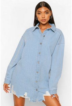 Mid blue blue Tall Oversized Distressed Hem Denim Shirt