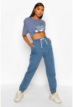Mid blue blue Tall Denim Joggers