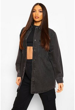 Grey Tall Oversized Denim Shirt
