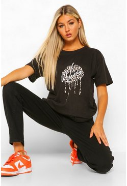 Tall 'Woman' Slogan Leopard Lips Print T-Shirt, Black schwarz