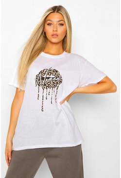 White Tall 'Woman' Slogan Leopard Lips Print T-Shirt
