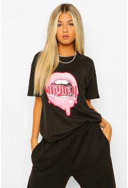 Black Tall 'Honey' Slogan Lips Print T-Shirt
