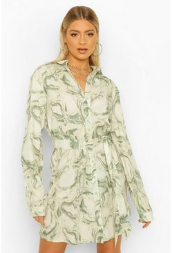 Khaki Tall Marble Print Shirt Dress