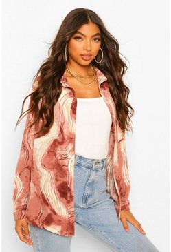 Red Tall Marble Print Shirt
