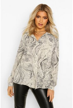 Grey Tall Marble Print Shirt