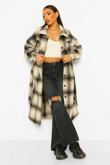 Black Tall Longline Wool Look Belted Check Shacket Coat