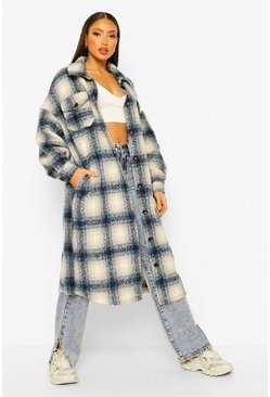 Blue Tall Longline Wool Look Belted Check Shacket Coat