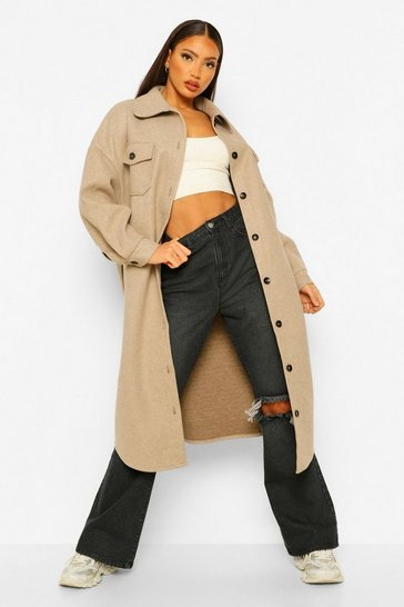 Oatmeal beige Tall Longline Wool Look Belted Shacket Coat