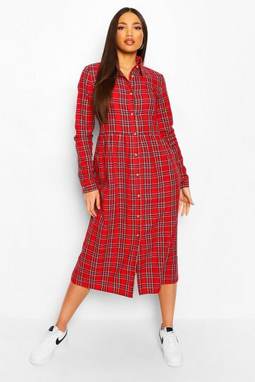 Red Tall Woven Check Long Sleeve Midi Shirt Dress