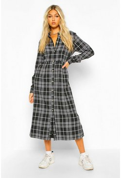 Black Tall Woven Check Long Sleeve Midi Shirt Dress