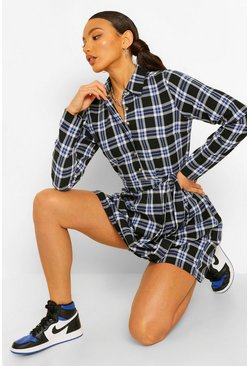 Blue Tall Woven Check Skater Shirt Dress