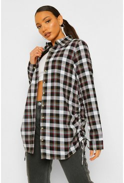Black Tall Woven Check Ruched Side Shirt