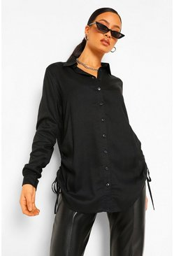 Black Tall Woven Ruched Side Shirt