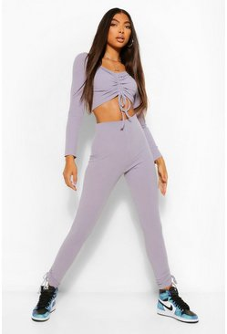 Grey Tall Geplooide Crop Top Met Lange Mouwen En Legging Set
