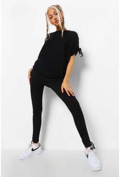 Black Tall Ruched Side T-Shirt and Legging Co-Ord Set