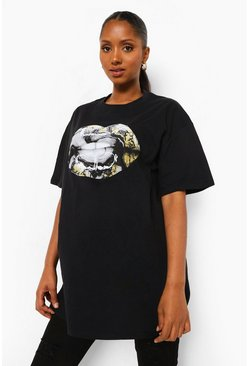 Black Maternity Marble Print Lips T-Shirt