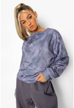 Grey Tall Marble Print Sweatshirt
