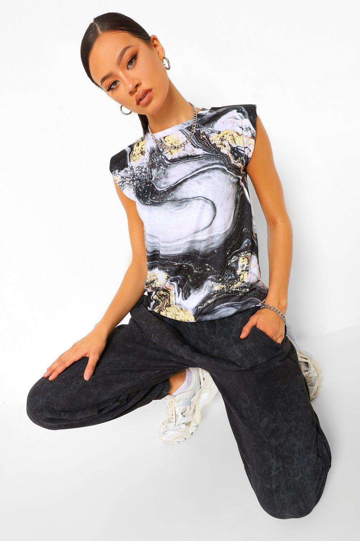 TOPS Black Tall Marble Print Shoulder Pad T-Shirt