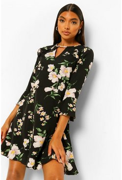 Black Tall Woven Vintage Floral Print Skater Dress
