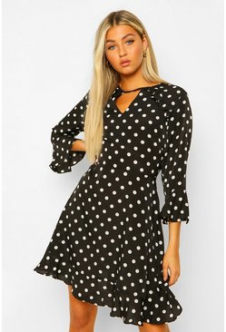 Black Tall Woven Polka Dot Skater Dress