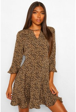 Leopard multi Tall Geweven Luipaardprint Skater Jurk