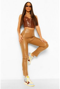 Toffee beige Tall Casual PU Side Split Leggings