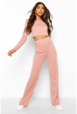 Dusty pink Tall Rib Wide Leg Trouser Co-Ord Lounge Set