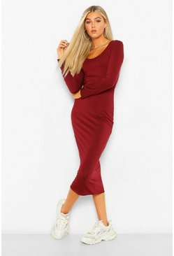 Berry Tall Long Sleeve Bodycon Midi Dress
