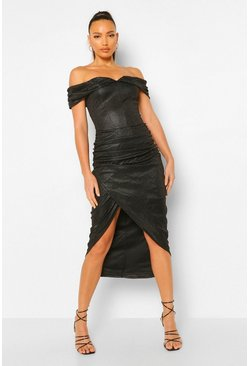 Black Tall Off Shoulder Shimmer Wrap Front Midaxi Dress