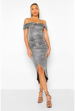 Silver Tall Off Shoulder Shimmer Wrap Front Midaxi Dress