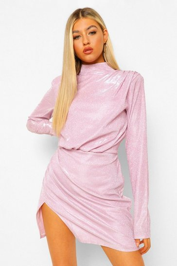Pink Tall High Neck Long Sleeve Shimmer Midi Dress