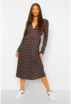 Black Tall Woven Long Sleeve Polka Dot Midi Dress