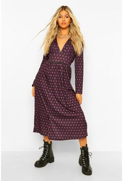 Purple Tall Woven Long Sleeve Polka Dot Midi Dress
