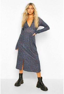 Blue Tall Woven Long Sleeve Floral Print Midi Dress