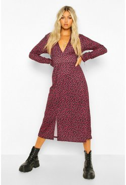 Tall Woven Long Sleeve Floral Print Midi Dress, Red rouge